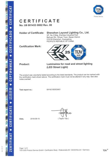 Chine Shenzhen Leyond Lighting Co.,Ltd. Certifications
